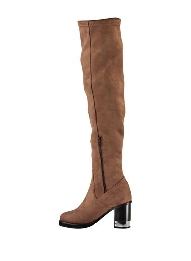 Topuklu Uzun Süet Çizme-Elle